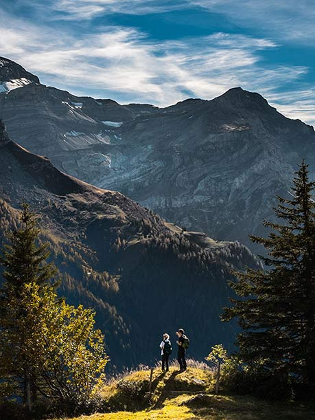 Two people hiking